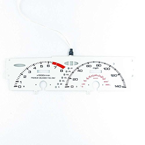 (BAR Autotech  EL GLOW GAUGE DASH WHITE FACE EL CLUSTER FOR HONDA Prelude SI AT 92-96 )