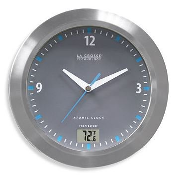 LCT Water Resistant Atomic Analog Clock with Digital Temperature Display by La Crosse Technology