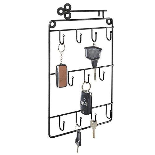 MyGift Black Metal Wall-Mounted 11-Hook Key & Lanyard Rack - Wall Rack Stereo