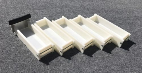 Lot of 4 HDPE Soap Loaf Making Mold and Single Slot Soap Cutter 3 - 4 lb ea mold
