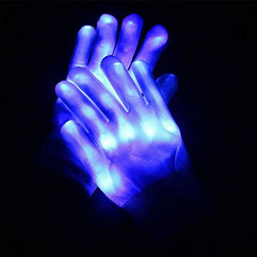 ABDQPC LED Qloves Multi-Color Changing Flashing Skeleton Gloves for Christmas Halloween Costume Party Concert 1 Pair Blue -