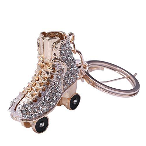 SODIAL Keyring Bag Charm Pendant Keys Holder Roller Skates Shoe Keychain Jewelry Key Chain Women Girl Gifts Pink]()