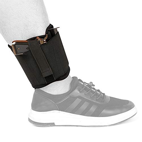 Depring Ventilated Neoprene Ankle Holster with 2 Magazine Pouches for Concealed Carry Hidden Pistol Carrier for Right Left Handed Use Fits Subcompact Compact Handguns | (3rd Generation)