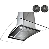 AKDY AWRKN30 30 Wall Mount Range Hood with 760 CFM 65 dB Centrifugal Motor Innovative Touch 2W LED Lighting 3 Fan Speed Aluminum Grease Filter and Ductless: Stainless