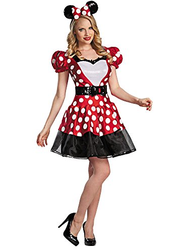 Disguise Women's Disney Mickey Mouse Glam Minnie Costume, Red/White/Black, Large/12-14 ()