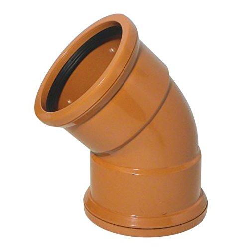 110mm 4' Underground Drainage 45 Degree Double Socket D/S Pushfit Bend Corner Junction Soil Pipe Coupling Funke