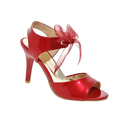 Sandals Party Up Womens Lace Toe Peep Stiletto Heel Red High Carolbar Patent Dress Ribbon Dancing Leather 60zW0