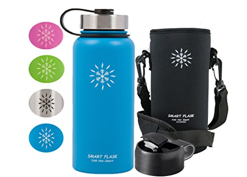 Smart Flask Stainless Steel Water Bottle, Wide Mouth, Vacuum Insulated, Includes Carrying Pouch with 59