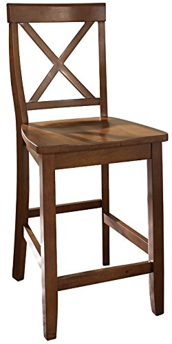 Crosley Furniture X-Back 24-inch Bar Stool - Classic Cherry (Set of 2) (Cherry Counter Stool Set)