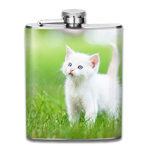 Stainless Steel Hip Flask 7 Oz (No Funnel) White Baby Cat Full Printed -