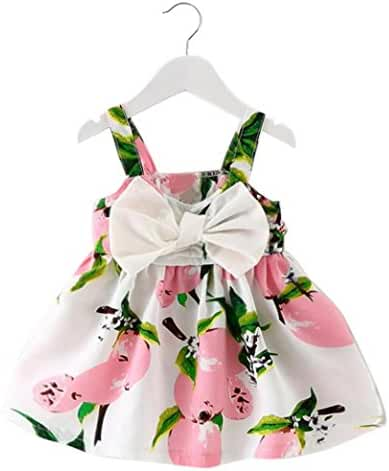 Baby Princess Dress,BeautyVan Fashion Cartoon Baby Girl Clothes Lemon Printed Infant Outfit Sleeveless Princess Dress (6M, Pink)