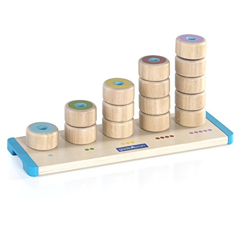 Guidecraft Count and Stack Poppers - Rubberwood Cylinders Counting and Matching Skills Guidecraft Ring