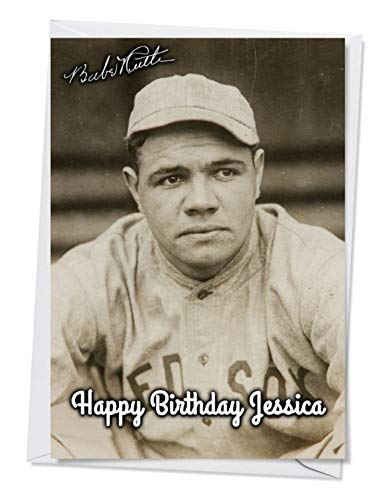 (Babe Ruth - Boston Red Sox 5 - Quality Greeting Card for any Occasion (Birthday, Christmas etc) - Full Personalisation available Inside & Out)