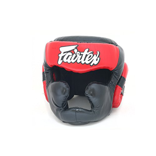 Fairtex Headgear Head Guard Super Sparring HG3, HG10, HG13 Diagonal Vision for Muay Thai, Boxing, Kickboxing (HG13 Black/Red,L)