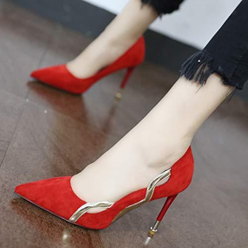 YMFIE Estilo Europeo Puntiagudo Hueco Sexy Zapatos de tacón de Aguja de Estilete Solo Zapatos de Fiesta Zapatos de Boda red
