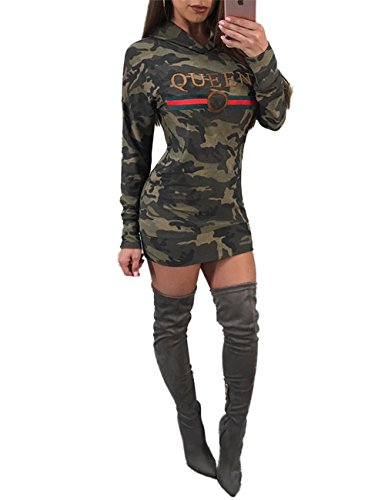 Ninimour Womens Queen Camouflage Print Casual Hoodie Dress Army Green M