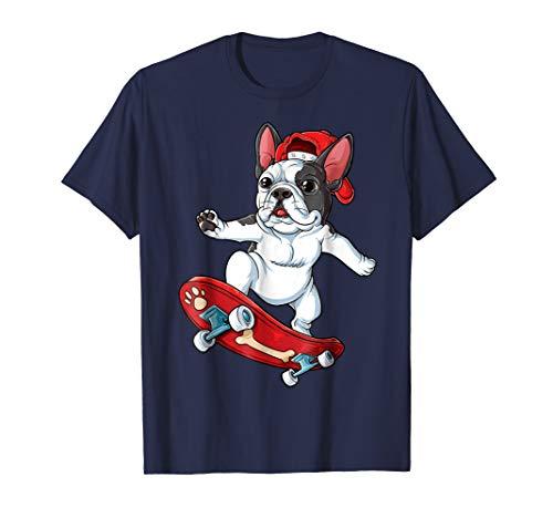 French Bulldog Skateboard T shirt Dog Skater Skateboarding ()