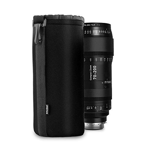 high-quality Amzdeal Housse Objectif Lot de 4, Étui objectif de protection en néoprène pour Canon, Nikon, Pentax, Sony, Olympus, Panasonic-S, M, L, XL
