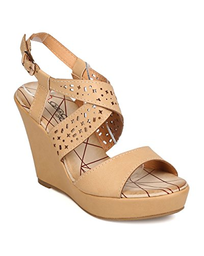 DBDK Women Leatherette Open Toe Perforated Platform Wedge Sandal FA97 - Nude (Size: 8.5)