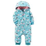Carters Baby Girls Fleece Hooded Romper Jumpsuit, Aqua Floral, 9M