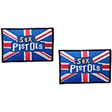 2 pieces SEX PISTOLS Iron On Patch Fabric Applique Motif Rock Band Punk Metal Decal 3.2 x 2.5 inches (8 x 6.3 cm)