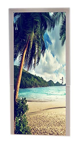 (A.Monamour Tropical Island Palm Tree Sand Beach Blue Ocean Summer Sunset Nature Landscape Picture Print Vinyl Room Door Decals Wallpaper Wall Murals Removable Door Stickers Posters Art Decors For Home)