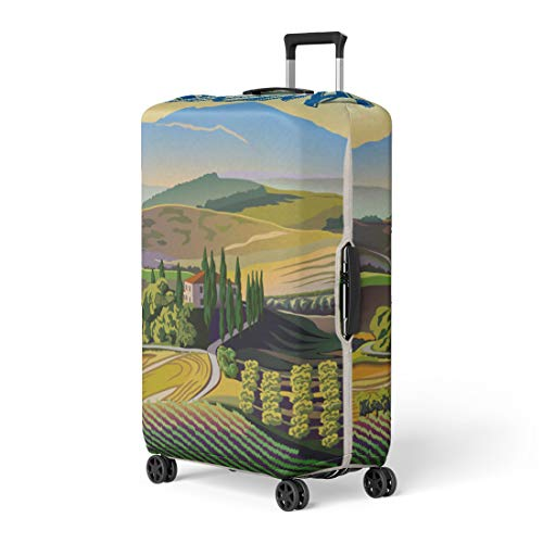 Pinbeam Luggage Cover Green Italian Summer Day in Tuscany Italy the Travel Suitcase Cover Protector Baggage Case Fits 26-28 inches