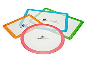 WonderKitchen Silicone Baking Mat Set - Non Stick Mats for Cookie Sheets, Toaster Ovens, Pizza Pans, and Microwave Mat for Glass Turntable Carousel, Pack of 4