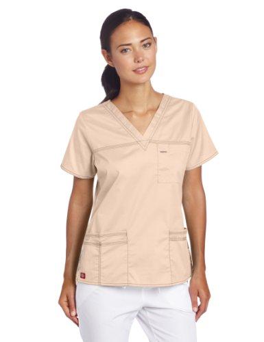 Dickies Scrubs Women's Gen Flex Junior Fit Contrast Stitch V-Neck Shirt, Khaki, (Beige Stitch)