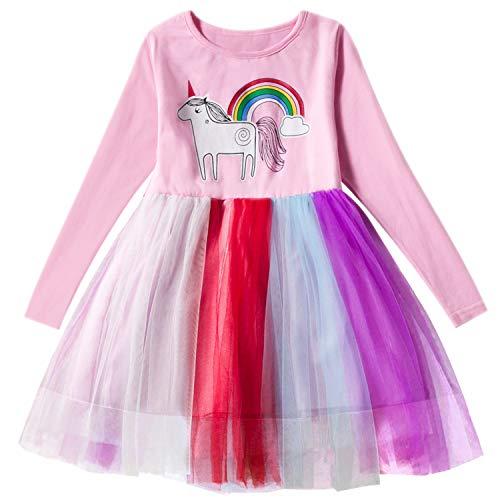 TTYAOVO Little Girls Longsleeve Unicorn Cartoon Casual Dress Size 4-5 Years Pink -