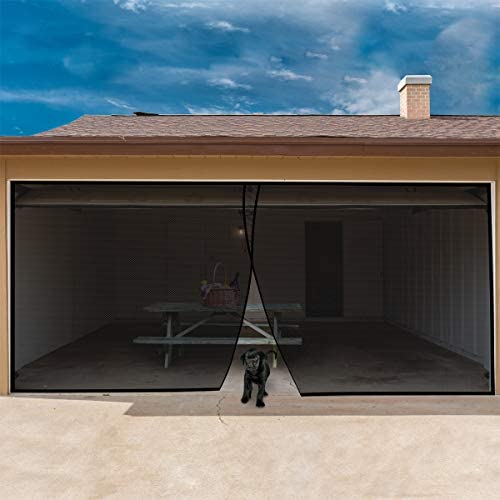 Pure Garden 998613PCR Magnetic Door Screen for 2 Car Garage, Black