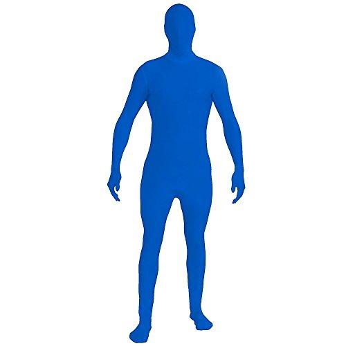 [FunWorld Zentai Skin Suit, Blue, One Size Costume] (Blue Man Skin Costume)