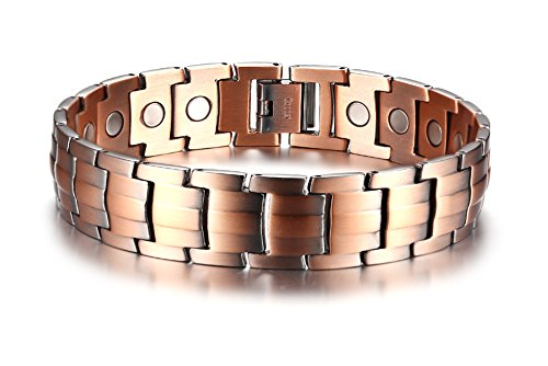 Nickel Adjustable Matt (15MM Elegant Pure Copper Magnetic Therapy Bracelet Pain Relief for Arthritis and Carpal Tunnel, Free Links Removal Tool.)