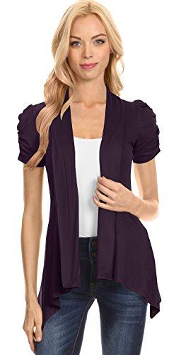 Simlu Plum Cardigan Womens Open Front Short Sleeve Asymmetric Cardigan,Plum,XX-Large