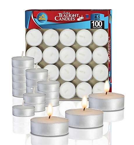Ner Mitzvah Tea Light Candles - 100 Bulk Pack - White Unscented Travel, Centerpiece, Decorative Candle - 4.5 Hour Burn Time - Pressed Wax