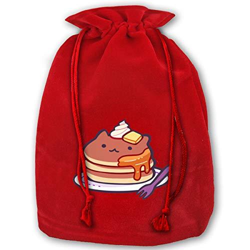HYEECR Cat Pancakes Christmas Bags Santa Present Sack Drawstring Bag Holiday Wrapping ()