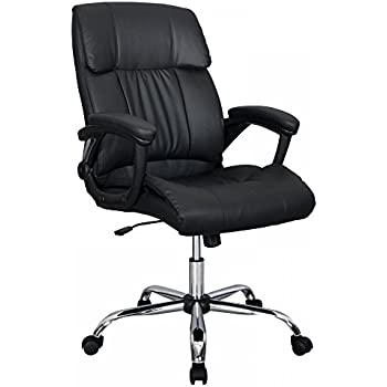 Good Black PU Leather Ergonomic High Back Executive Best Desk Task Office Chair