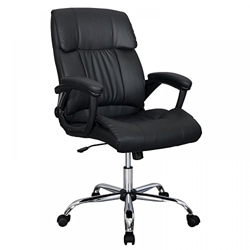 Black PU Leather Ergonomic High Back Executive Best Desk Task Office Chair (Chair Padding Office)