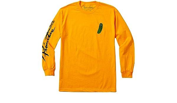 8cfa8047f6 Amazon.com: Primitive R&M Pickle Rick Long Sleeve T-Shirt - Gold: Sports &  Outdoors
