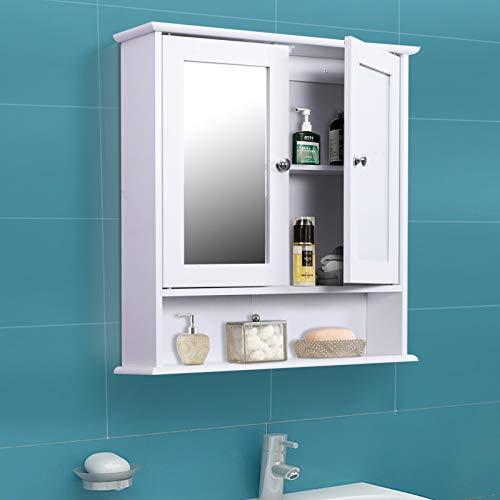Hanging Bathroom Storage Medicine Cabinets Toilet Living Room Organizer with Mirror -White