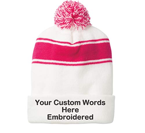 Unameitcustom Customize Your Beanie Personalized with Your Own Text Embroidered (Stripe Pom Pom White/Pink Raspberry)]()
