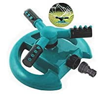 Belletek Lawn Sprinkler - Automatic 360° Rotating Adjustable Garden Hose Watering Sprinkler for Kids, Three Arm Rotating Sprinkler System/Anti-Leak Design/Durable (1 Pack)