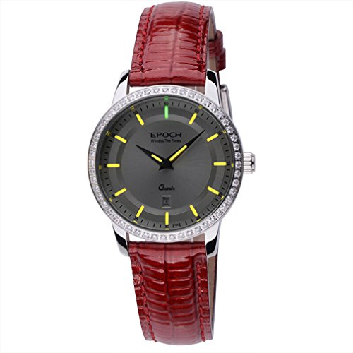 EPOCH 6023L Waterproof 50m tritium Yellow Luminous Leather Strap Vogue Business Lady Women Quartz Watch Wristwatch -  EPOCH 6023L yellow leather
