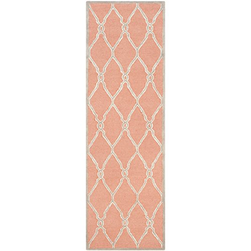 Safavieh Cambridge Collection CAM352W Handcrafted Moroccan Geometric Coral and Ivory Premium Wool Runner (2'6
