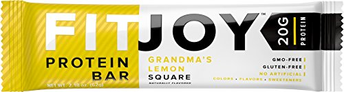 FitJoy Protein Bars Low Carb Low Sugar, Gluten Free High Protein Snacks, Grandma's Lemon Square, 12 Bars (Protein Bar Snack High)