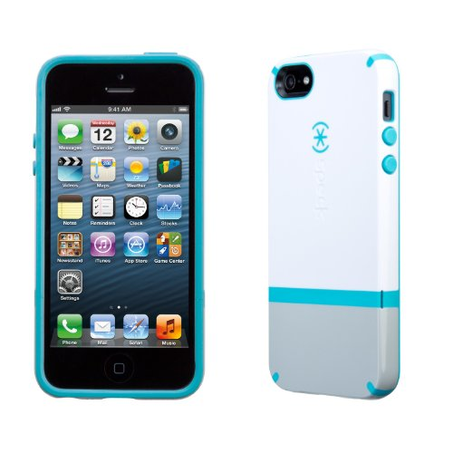 Speck Products CandyShell Flip Dockable Case for iPhone SE/5/5S - White/Pebble Grey/Peacock Blue