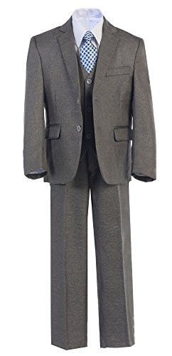 Whispers Boys Toddler Kid Teen 5-Piece Formal Dark Grey Dress Suit w/Vest Size 2-20 (16, Light Grey) by Whispers