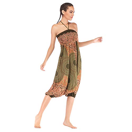 Harem Pants Women's Hippie Bohemian Yoga Pants One Size Aladdin Harem Hippie Pants Jumpsuit Smocked Waist 2 in 1 (Free, Army Green) by BingYELH Yoga (Image #2)