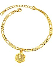 ChainsPro Can Engrave, 4.5MM Initial Anklet for Women Teen Girls, 18K Gold Plated-22+5cm Length-Adjustable (Send Gift Box)