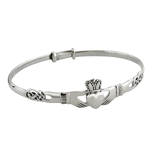Sterling Silver Irish Claddagh Celtic Knot Bangle Bracelet 64mm (Bracelets Claddagh Silver)